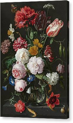 Still Life With Fowers In Glass Vase Canvas Print