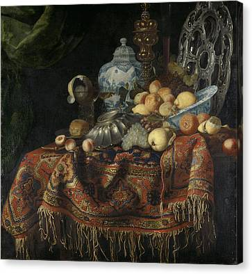 Still Life With Fruit And Crockery On A Turkish Carpet Canvas Print by Litz Collection
