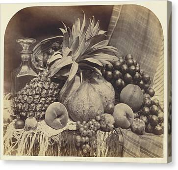 Decanters Canvas Print - Still Life With Fruit And Decanter Roger Fenton by Litz Collection