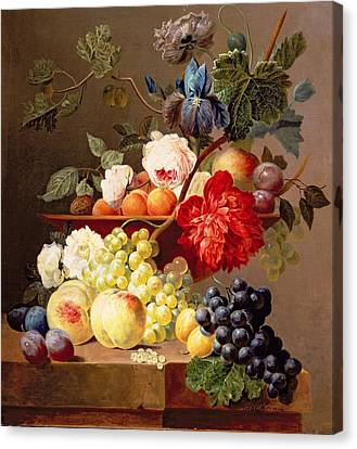 Still Life With Fruit And Flowers Canvas Print by Anthony Obermann