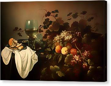 Still Life With Fruit And Roemer Canvas Print by Mountain Dreams
