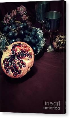 Still Life With Fruits And Roses Canvas Print