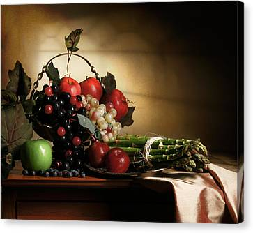 Still Life With Grapes And Asparagus Canvas Print by Levin Rodriguez