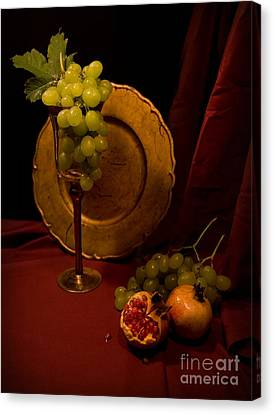 Bunch Of Grapes Canvas Print - Still Life With Grapes And Pomegranate by Jaroslaw Blaminsky