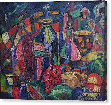 Still Life With Grapes Canvas Print by Avonelle Kelsey