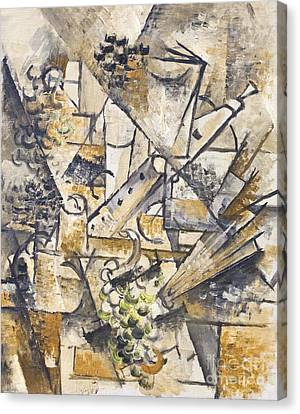Still Life With Grapes Clarinet And Fan By George Braque Canvas Print