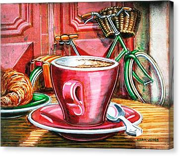 Canvas Print featuring the painting Still Life With Green Dutch Bike by Mark Howard Jones