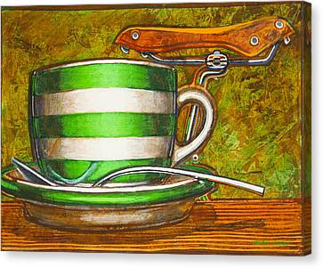 Canvas Print featuring the painting Still Life With Green Stripes And Saddle  by Mark Howard Jones
