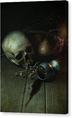 Still Life With Human Skull And Silver Chalice Canvas Print by Jaroslaw Blaminsky
