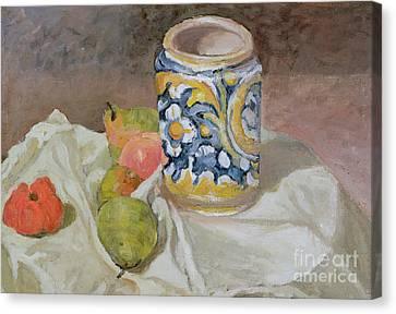 Still Life With Italian Earthenware Jar Canvas Print by Paul Cezanne