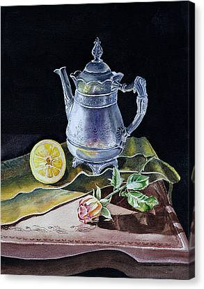 Still Life With Lemon And Rose Canvas Print