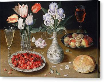 Still Life With Lilies, Roses, Tulips, Cherries And Wild Strawberries Canvas Print by Osias the Elder Beert