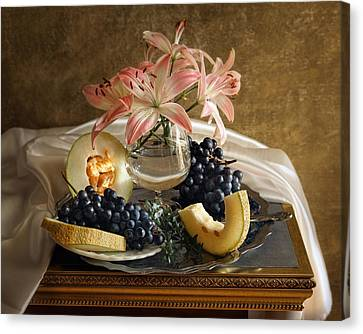 Still Life With Lily Flowers And Melon Canvas Print