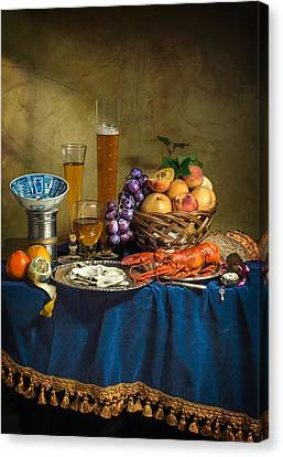 Still Life With Lobster Fruits And Great Salt Canvas Print by Levin Rodriguez