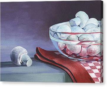 Canvas Print featuring the painting Still Life With Mushrooms by Natasha Denger