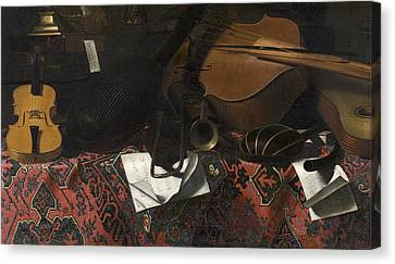 Still Life With Musical Instruments Canvas Print by Celestial Images