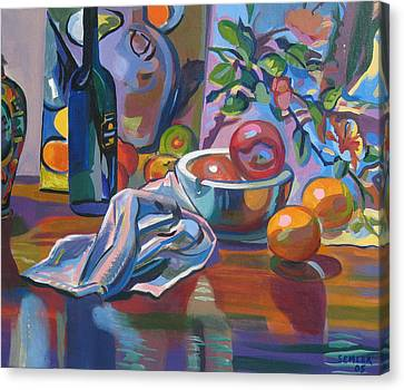 Canvas Print featuring the painting Still Life With Oranges by Clyde Semler