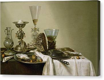Still Life With Oysters And Nuts, 1637 Oil On Panel Canvas Print by Willem Claesz. Heda