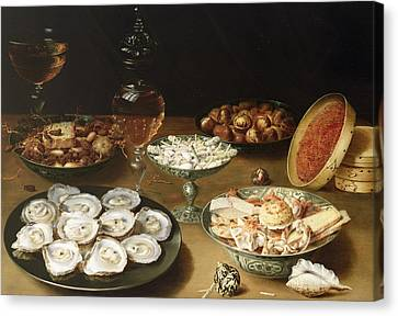 Still Life With Oysters Canvas Print by Osias the Elder Beert