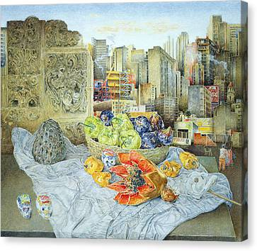 Still Life With Papaya And Cityscape, 2000 Oil On Canvas Canvas Print