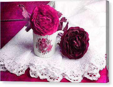 Still Life With Paper Flowers Canvas Print by Angela Bruno