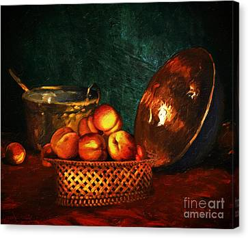 Still Life With Peaches And Copper Bowl Canvas Print by Lianne Schneider