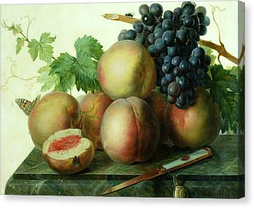 Still Life With Peaches And Grapes On Marble Canvas Print