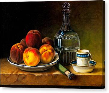 Still Life With Peaches Canvas Print by Bernadette Harrison