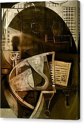 Still Life With Piano And Bust Canvas Print by Kim Gauge