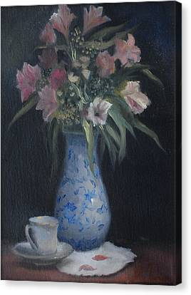 Still Life With Pink Flowers Canvas Print