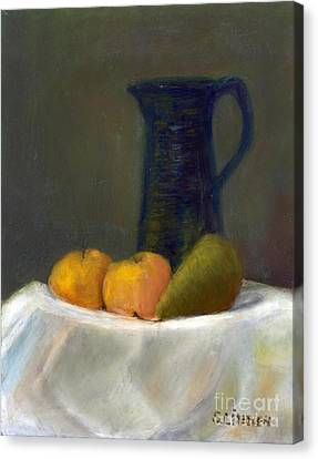 Canvas Print featuring the painting Still Life With Pitcher And Fruit by Sandy Linden