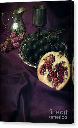 Old Pitcher Canvas Print - Still Life With Pomegranate And Dark Grapes by Jaroslaw Blaminsky