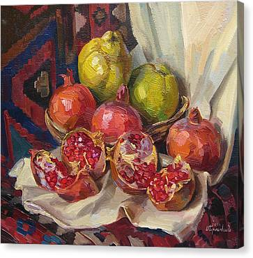 Still Life With Pomegranates And Quinces Canvas Print