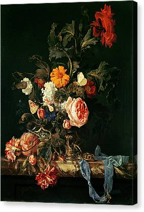 Still Life With Poppies And Roses Canvas Print by Willem van Aelst