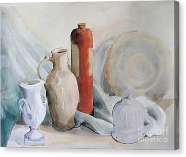 Still Life With Pottery And Stone Canvas Print by Greta Corens