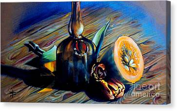 Still Life With Pumpkin And Tulips Canvas Print by Alessandra Andrisani