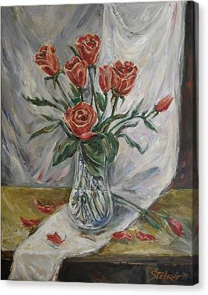 Still Life With Red Roses Canvas Print