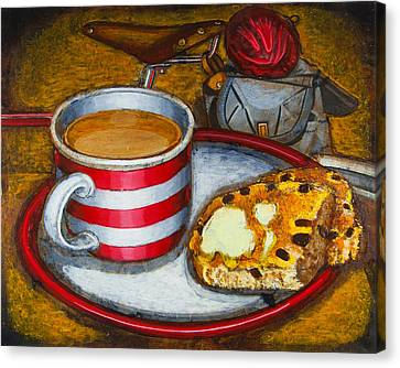 Canvas Print featuring the painting Still Life With Red Touring Bike by Mark Howard Jones