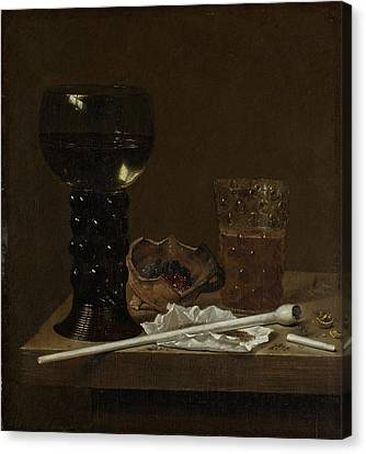 Still Life With Roemer, Beer Glass And A Pipe Canvas Print by Litz Collection