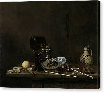 Still Life With Roemer, Flute Glass, Earthenware Jug Canvas Print by Litz Collection