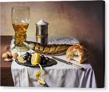 Still Life With Roemer-great Salt-fish And Bread Canvas Print by Levin Rodriguez