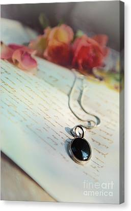 Still Life With Roses And A Black Pendant Canvas Print