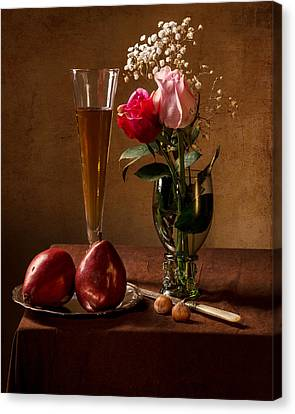 Still Life With Roses In Small Roemer And Two Red Pears Canvas Print by Levin Rodriguez