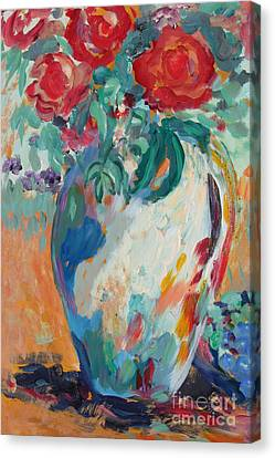 Canvas Print featuring the painting Still Life With Roses Partial View by Avonelle Kelsey