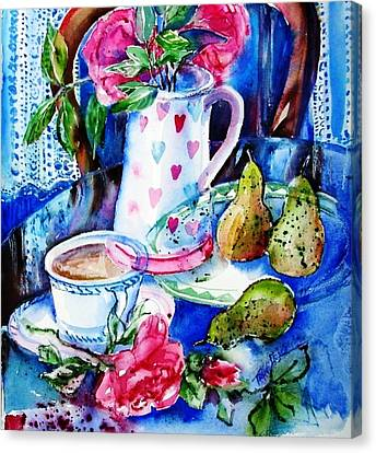 Still Life With Roses  Canvas Print by Trudi Doyle