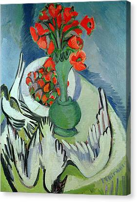 Bold Colors Canvas Print - Still Life With Seagulls Poppies And Strawberries by Ernst Ludwig Kirchner