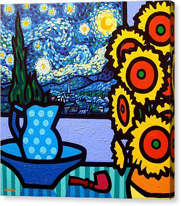 Wine Glasses Canvas Print - Still Life With Starry Night by John  Nolan