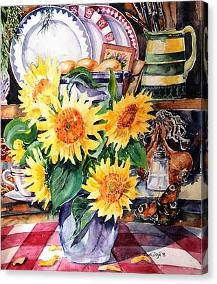 Canvas Print featuring the painting Still Life With Sunflowers  by Trudi Doyle