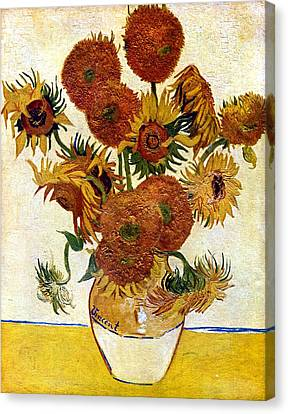 Still Life With Sunflowers Canvas Print by Vincent Van Gogh