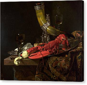 Still Life With The Drinking-horn Of The St. Sebastian Archers Guild, Lobster And Glasses, C.1653 Canvas Print by Willem Kalf